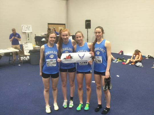 Haley McLean, Casey Conroy, Lily Flynn and Sarah Flynn of Ursuline after they won the  2019 Virginia Showcase girls invitational distance medley relay.