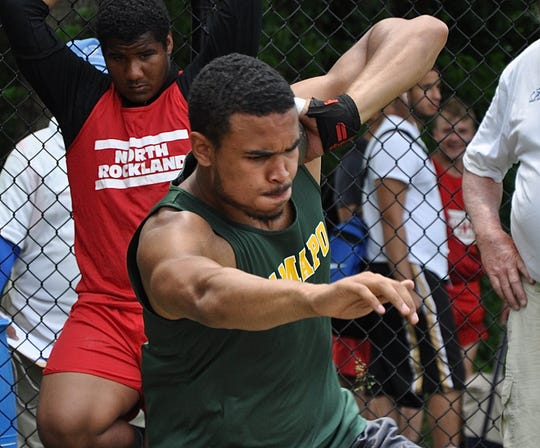 Ramapo's Anthony Harrison competing in the shot put during the Section 1 Class A Championships May 25, 2018. He won the New Balance (indoor) Games boys shot put title Jan. 19, 2019.