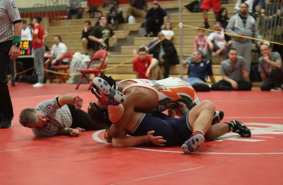 East Ramapo's Jhordyn Innocent defeats Suffern's Jaden Barnes in the 195-pound match in the Rockland County Wrestling Championships at Tappan Zee High School in Orangburg on Saturday, January 19, 2019.