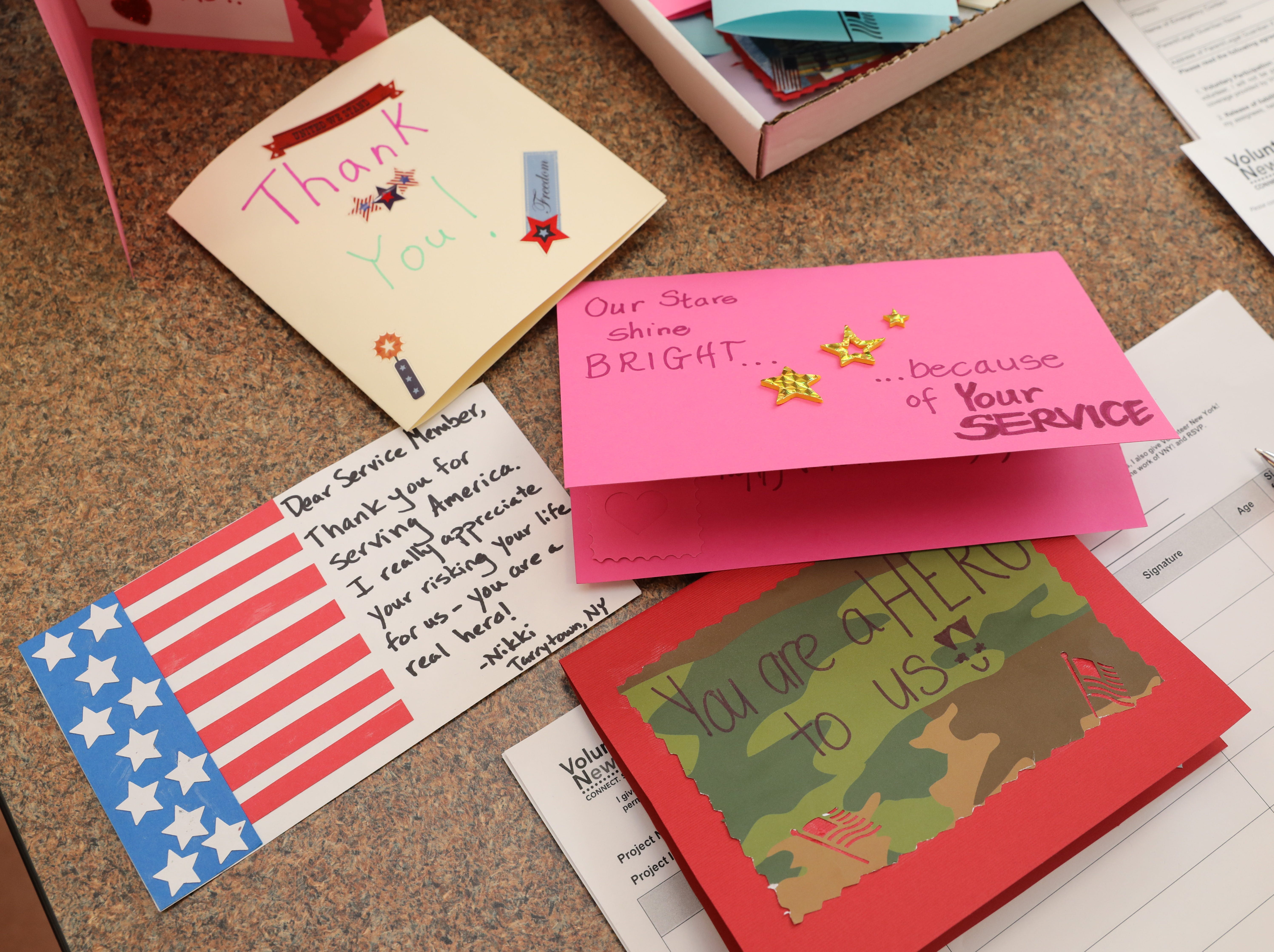 Greeting cards are pictured during the Volunteer New York, Martin Luther King Jr. National Day of Service program at Dominican College in Orangeburg, Jan. 19, 2019.