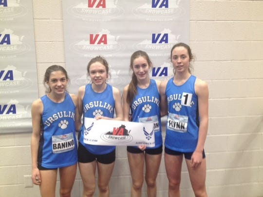 Ursuline's 4x800 team of Daphne Banino, Haley McLean, Claire Wilson and Sarah Flynn after 2019 Virginia Showcase win