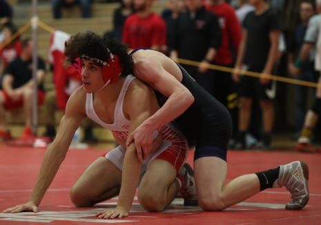 North Rockland's Josh Fernandez defeats Clarkstown North's Ryan Stern in the 138-pound match in the Rockland County Wrestling Championships at Tappan Zee High School in Orangburg on Saturday, January 19, 2019.