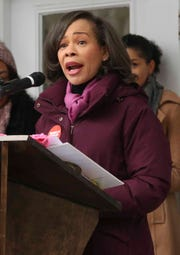 Congresswoman Lisa Blunt Rochester speaks during the Newark version of the Women's March Saturday.
