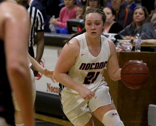 Nocona's Averee Kleinhans dribbles in the game against Bowie Friday, Jan. 18, 2019, in Nocona. The Lady Indians defeated the Lady Rabbits 52-44.