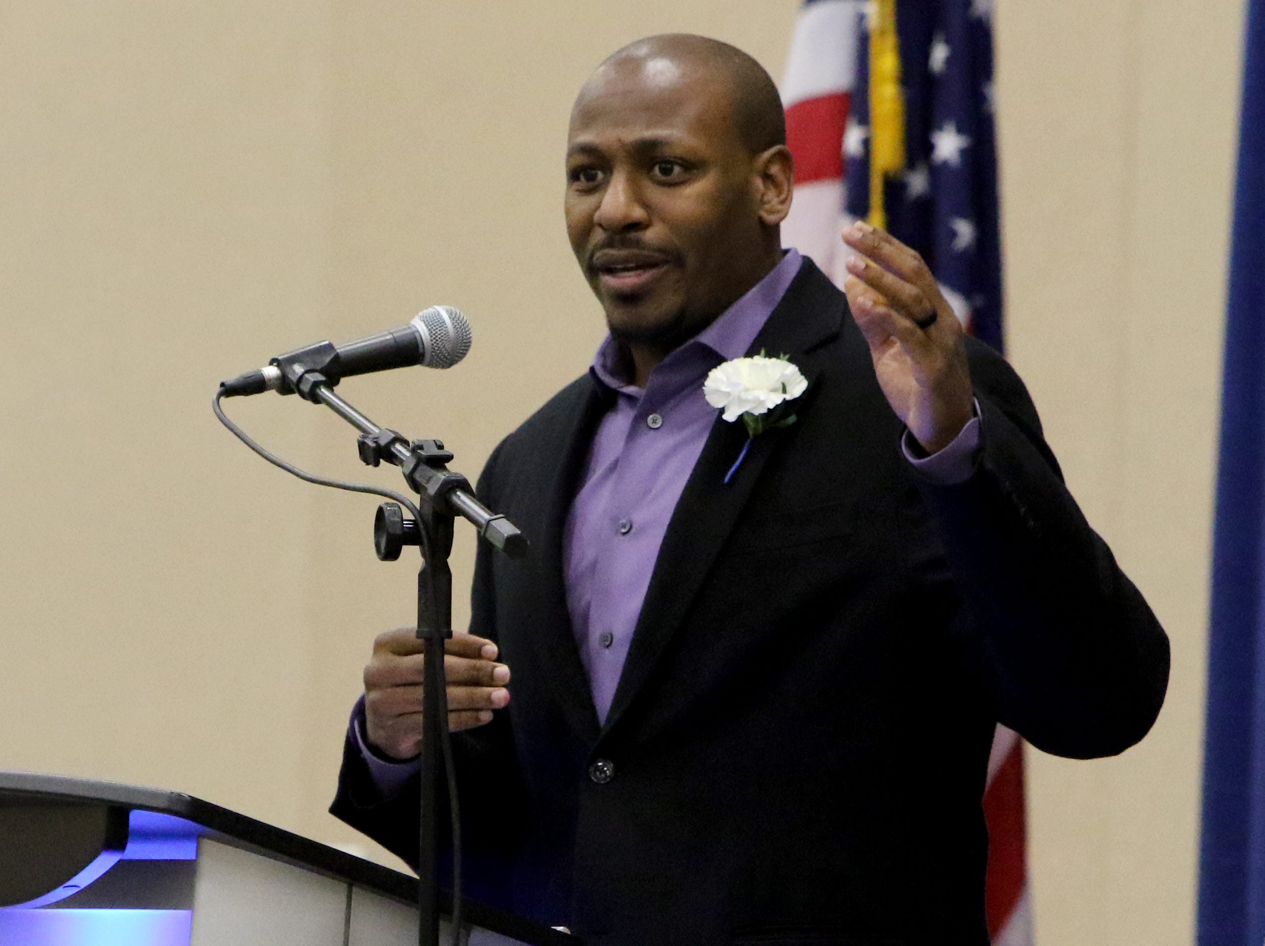 Jonathan Evans gives the meditation message at the Dr. Martin Luther King, Jr. Scholarship and Prayer Breakfast Saturday, Jan. 19, 2019, at the Multi-Purpose Events Center.