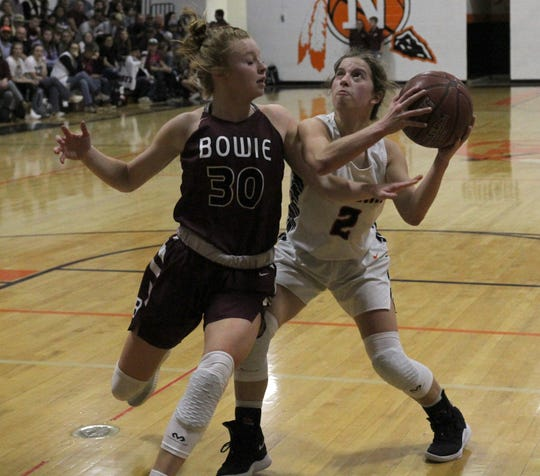 Nocona's Trystin Fenoglio looks to the basket by Bowie's Landra Parr Friday, Jan. 18, 2019, in Nocona. The Lady Indians defeated the Lady Rabbits 52-44.