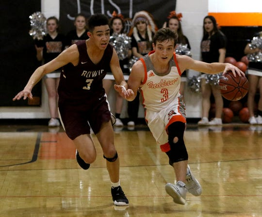 Nocona's Landry McCasland dribbles by Bowie's Braden Armstrong Friday. District 8-3A features six competitive teams vying for four playoff berths.