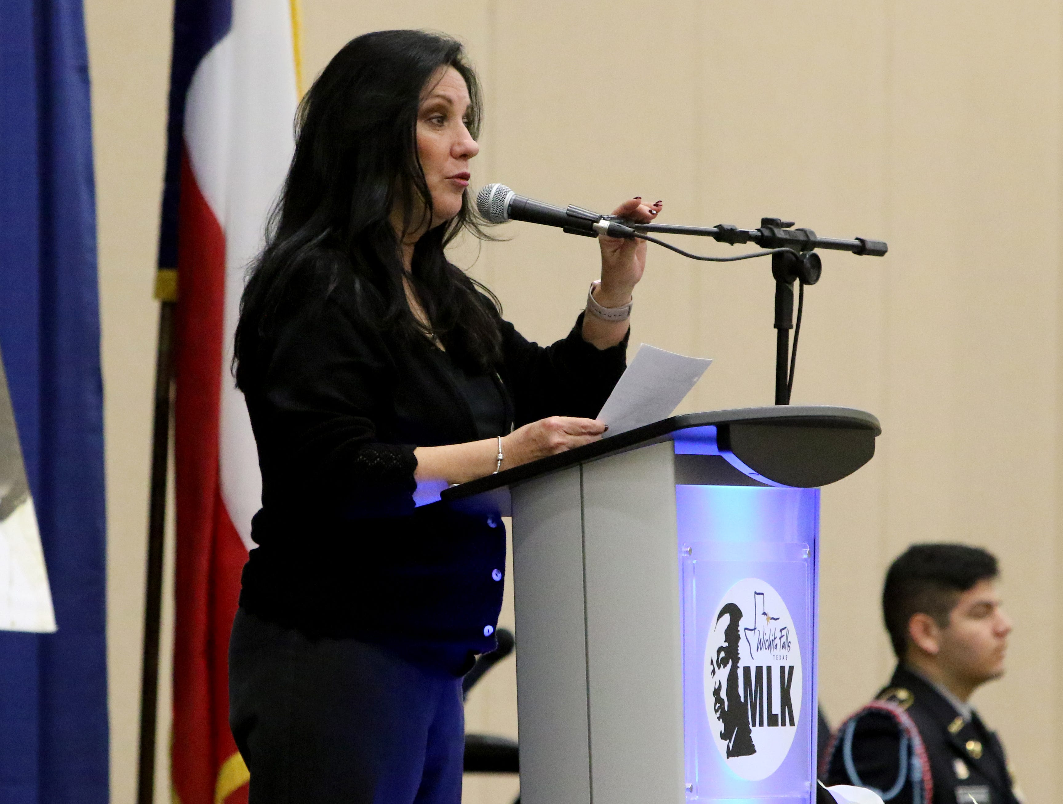 Janie Gee gives the prayer for comfort at the Dr. Martin Luther King, Jr. Scholarship and Prayer Breakfast Saturday, Jan. 19, 2019, at the Multi-Purpose Events Center.