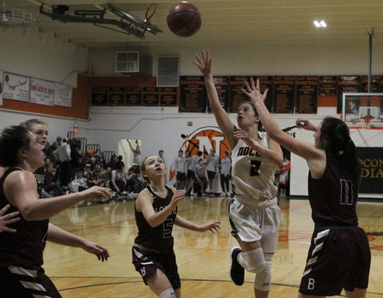 Nocona's Trystin Fenoglio shoots in the game against Bowie Friday, Jan. 18, 2019, in Nocona. The Lady Indians defeated the Lady Rabbits 52-44.