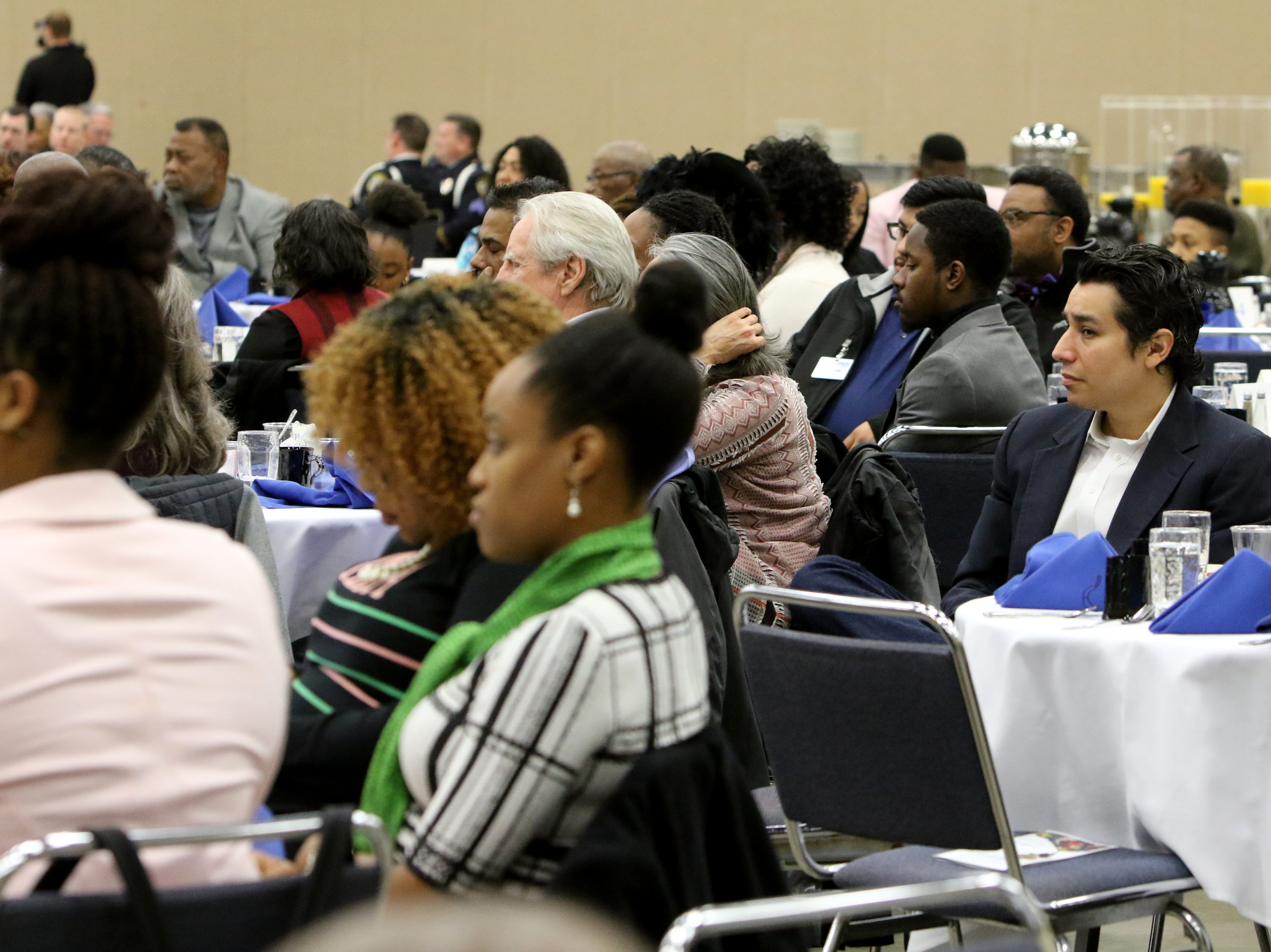 Attendees listen to guest speaker Jonathan Evans at the Dr. Martin Luther King, Jr. Scholarship and Prayer Breakfast Saturday, Jan. 19, 2019, at the Multi-Purpose Events Center.