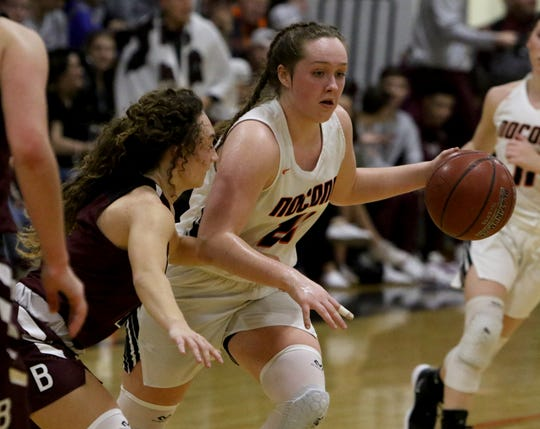 Nocona's Averee Kleinhans dribbles by Bowie's Brysen  Richey Friday, Jan. 18, 2019, in Nocona. The Lady Indians defeated the Lady Rabbits 52-44.