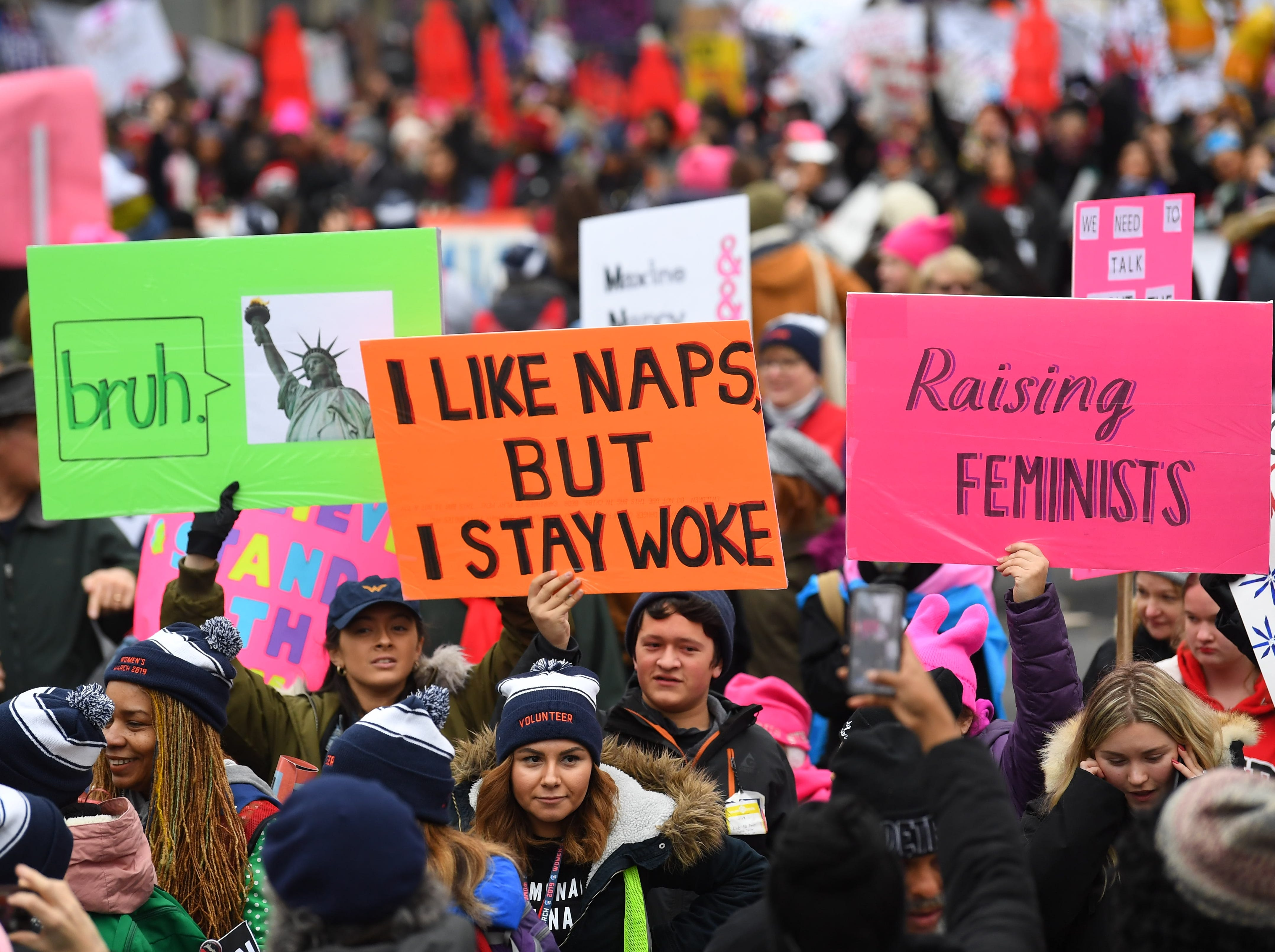 Demonstrations and rallies were held in Washington and at some 350 sites nationwide to display opposition to Trump, to demand an end to violence against women and to push for equality.