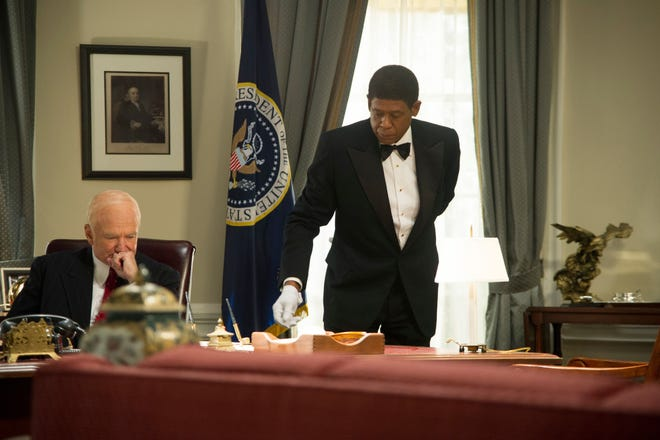 "Robin Williams as Dwight Eisenhower, left, and Forest Whitaker as Cecil Gaines in a scene from ""Lee Daniels' The Butler."""