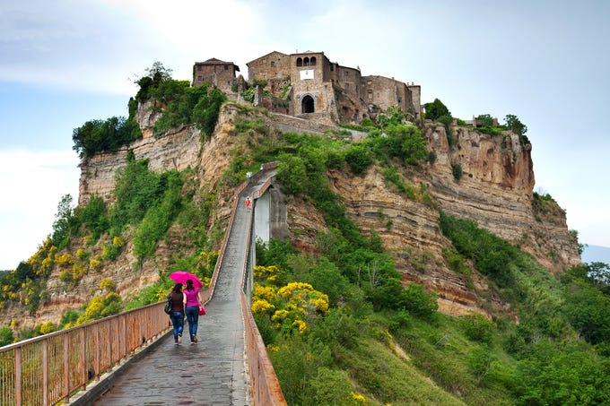 "A footpath is all that connects Italy's Civita di Bagnoregio to the ""mainland."""