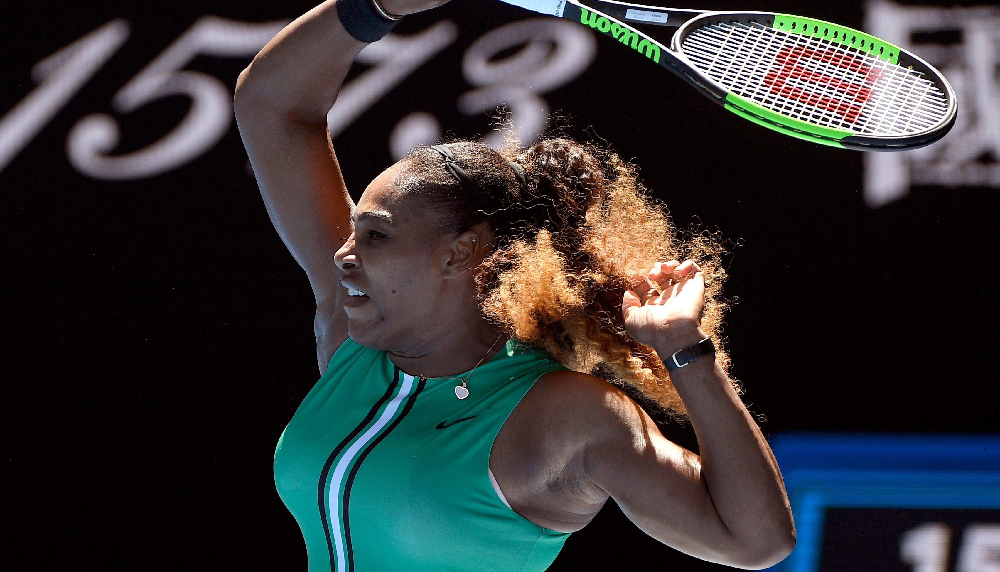 Serena Williams makes a forehand return to Dayana Yastremska during their third-round match at the Australian Open.