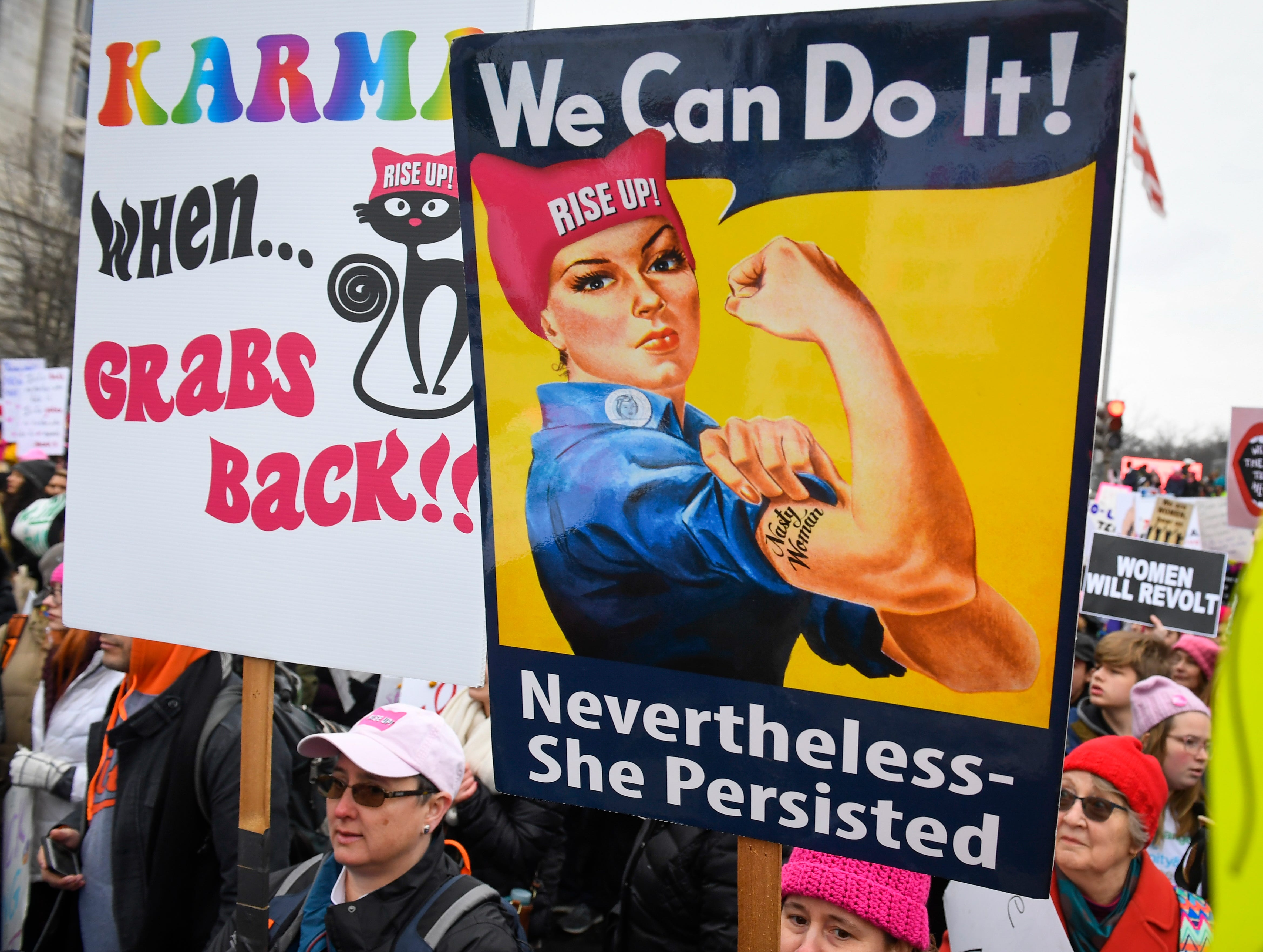 Marchers gather for the 2019 Women's March on Jan. 19, 2019 in Washington.