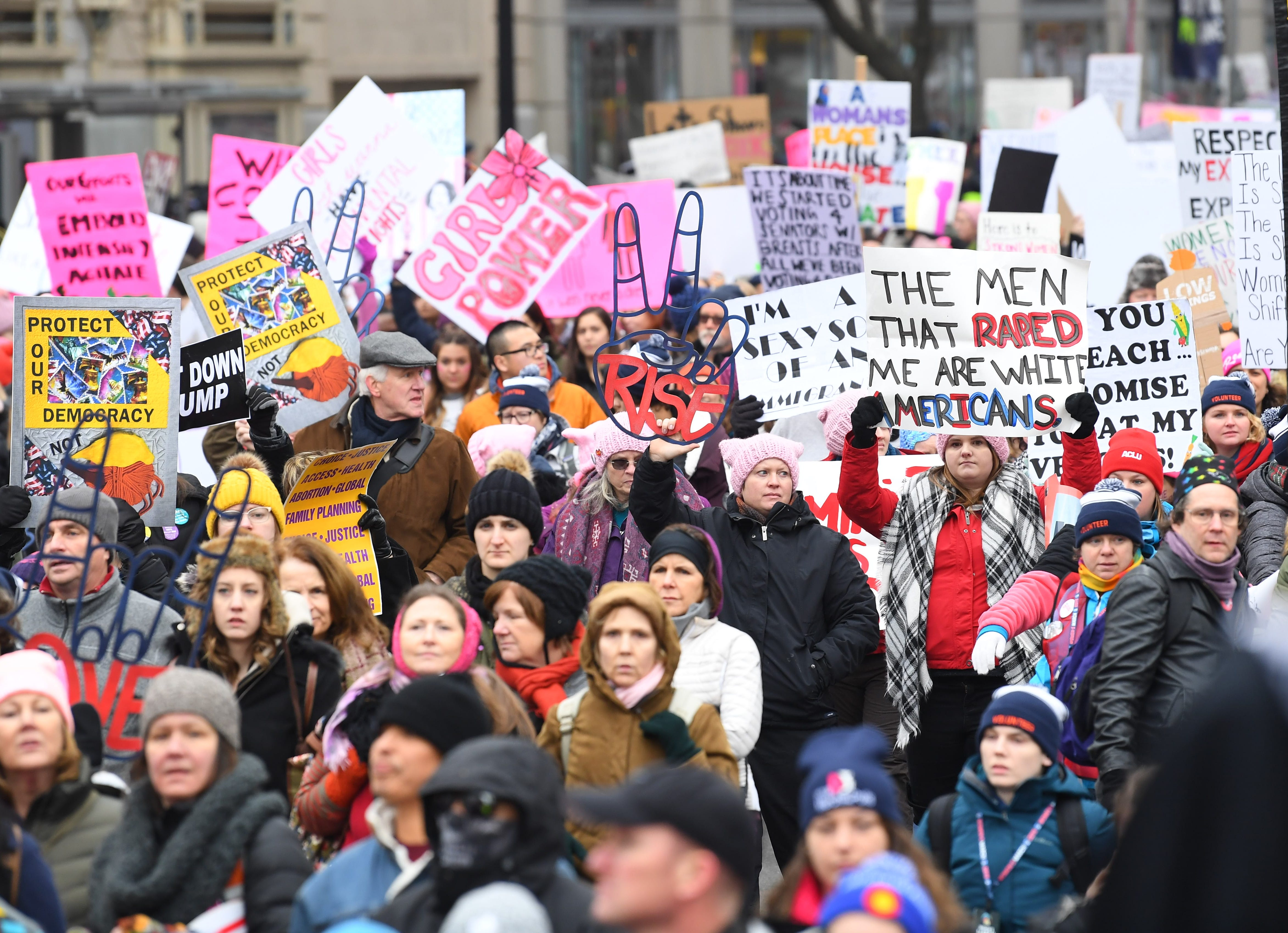 Marchers during the 2019 Women's March on Jan. 19, 2019 in Washington. The 2017 Women's March was organized to protest the first full day of President Donald Trump's term in office and at hundreds of other events in all 50 states.