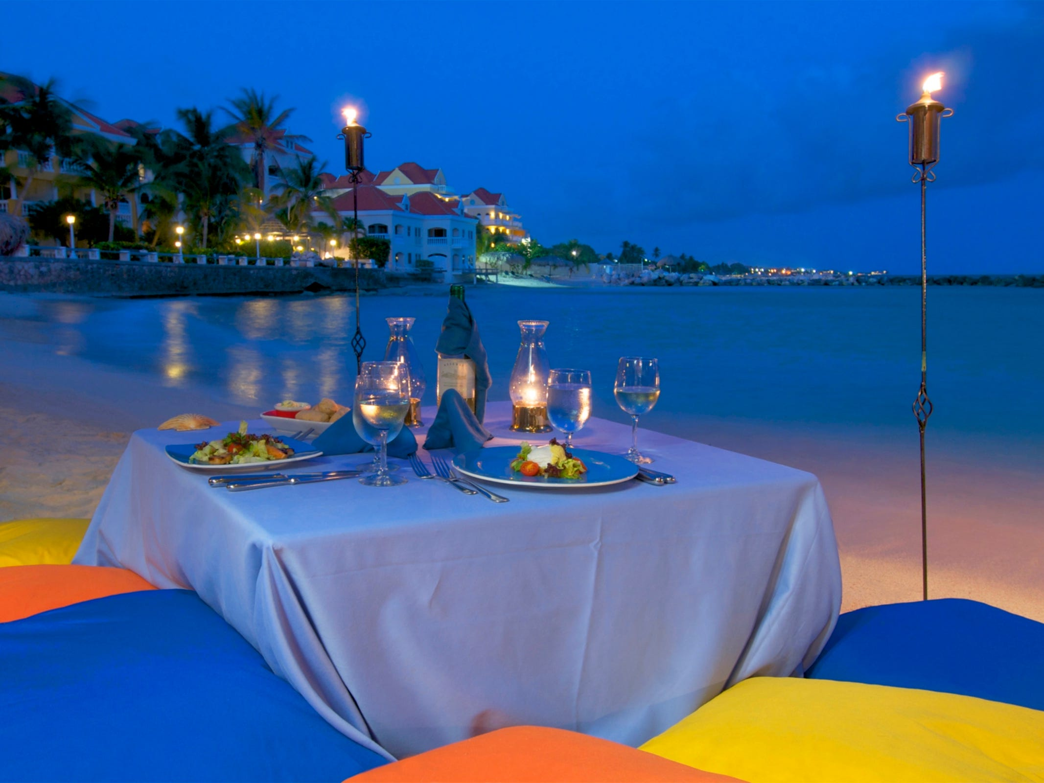 Lovers can book a romantic dinner on the beach at Avila Beach Hotel.