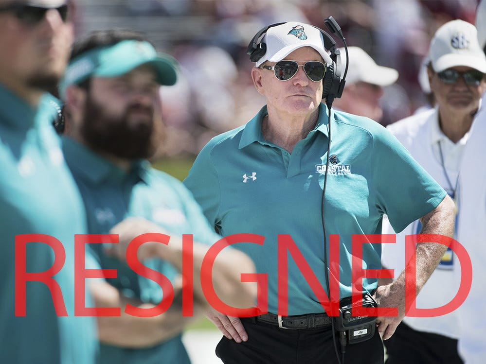 Joe Moglia has resigned as head coach at Coastal Carolina. He went 56-22 in six seasons as head coach of the Chanticleers, helping oversee their transition to FBS.