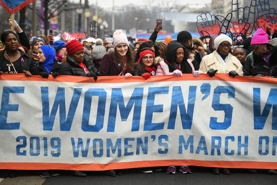 Marchers gather for the third Women's March on Jan. 19, 2019, in Washington, a protest that drew an estimated 100,000 despite chilly temperatures.