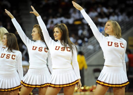 Southern California Trojans Song Girls cheerleaders perform during a game in 2008.