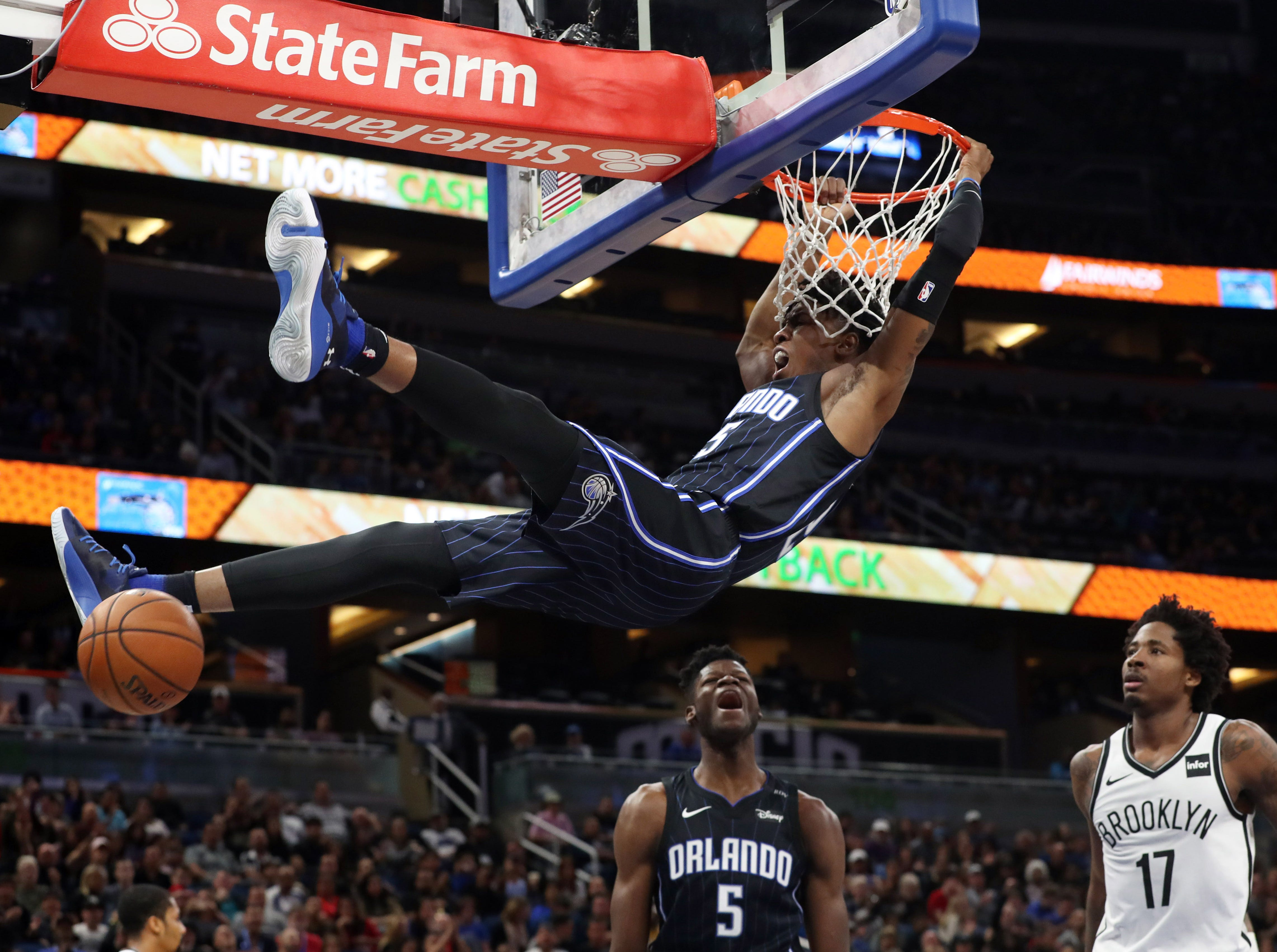 Jan. 18: Orlando Magic forward Wesley Iwundu (25) dunks against the Brooklyn Nets during the second quarter at Amway Center.