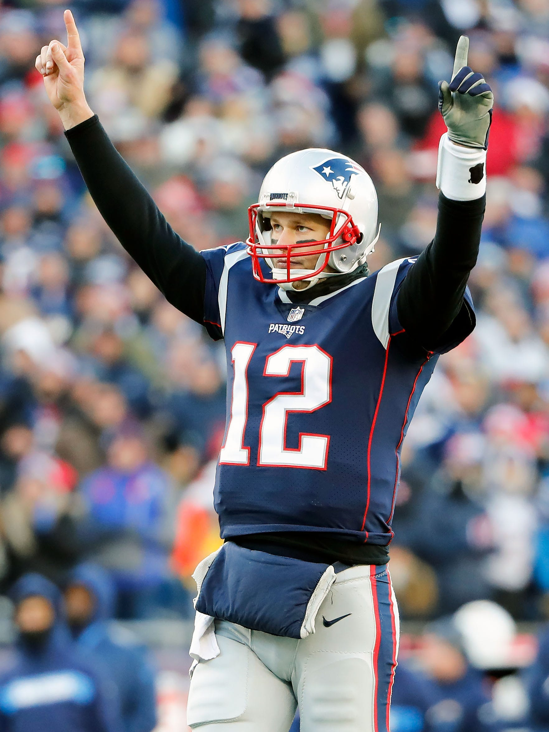 Brady celebrates after a touchdown against the Los Angeles Chargers.
