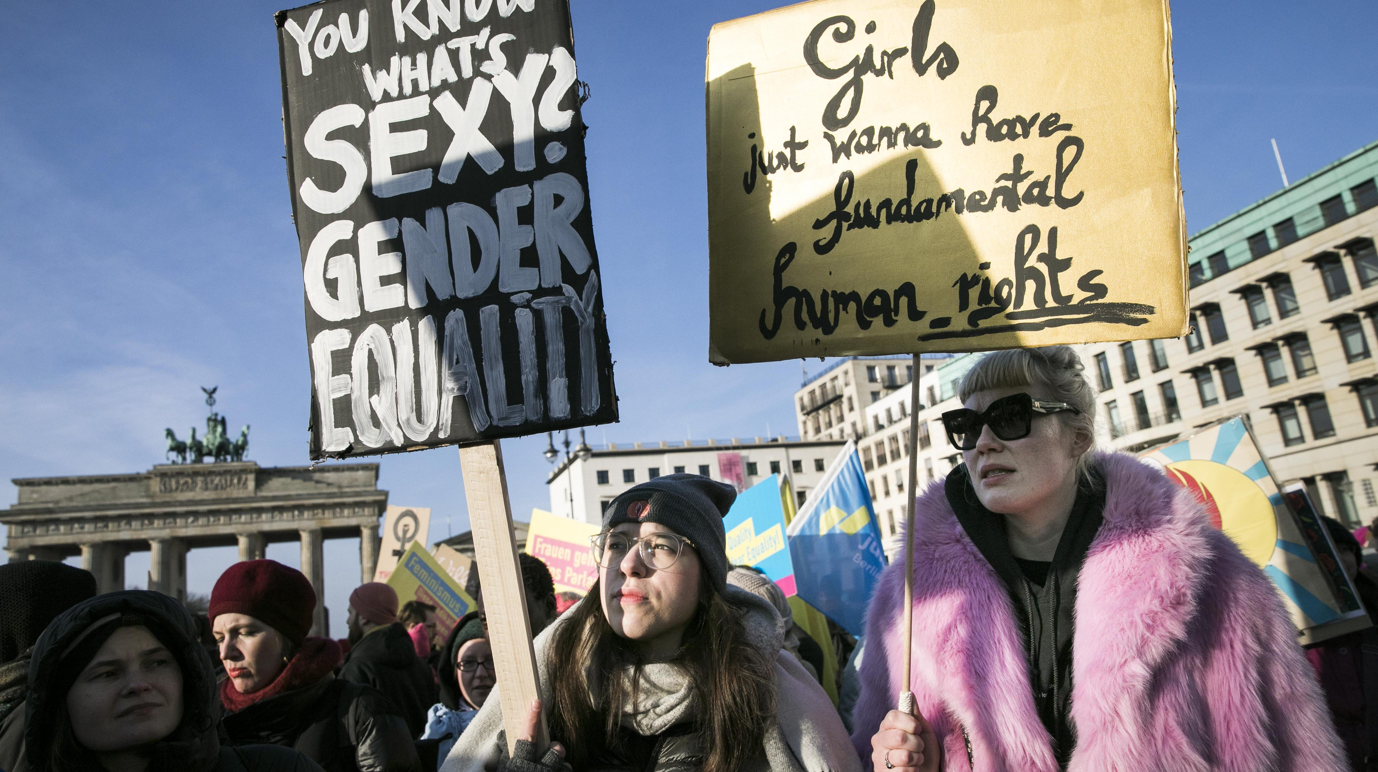 People attend the Women's March 2019 protest for more women's rights on January 19, 2019 in Berlin, Germany. Organized by Democrats Abroad, the event coincides with Women's Marches taking place today across the USA.