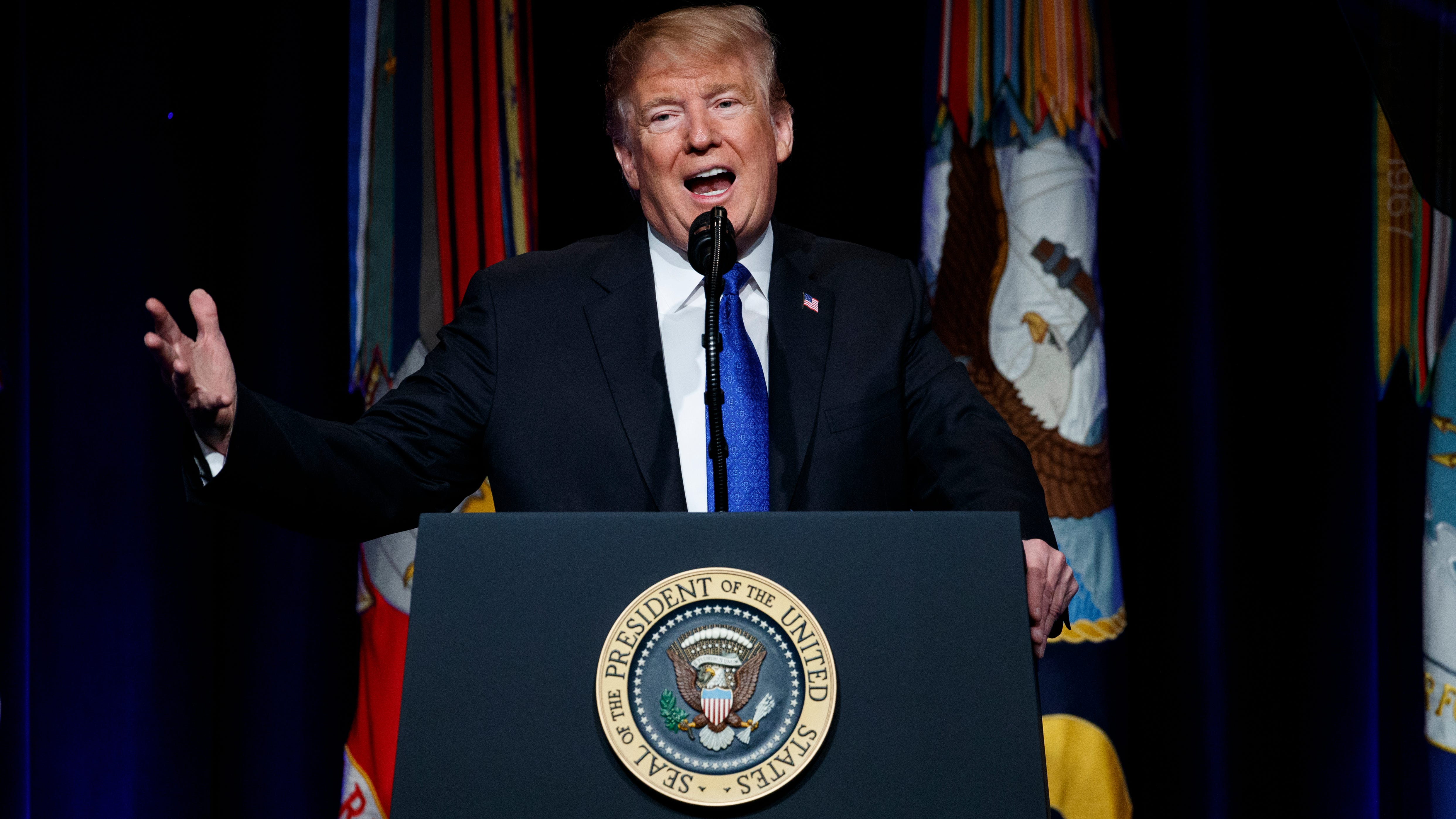 President Donald Trump speaks about American missile defense doctrine on Jan. 17 at the Pentagon