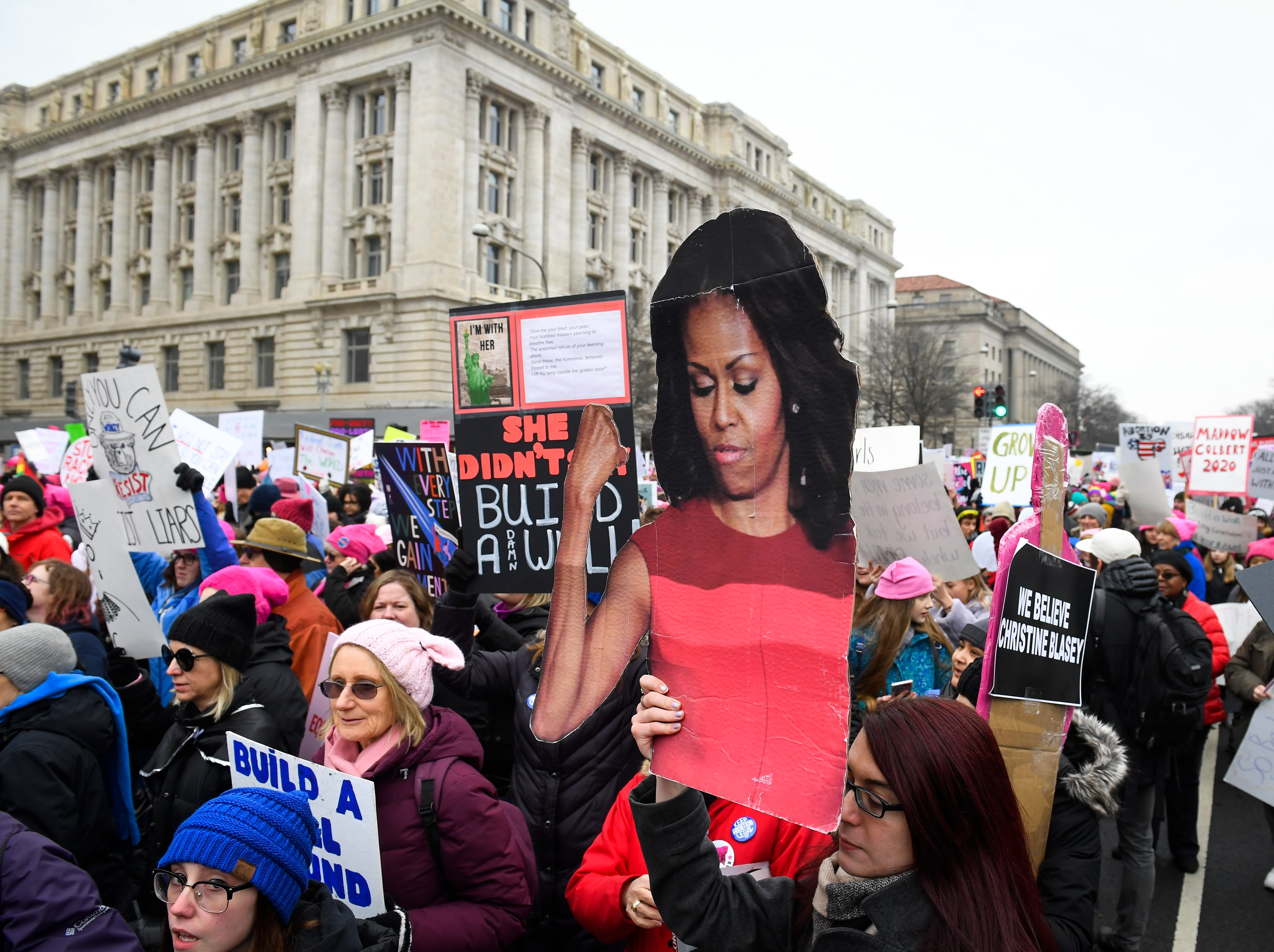 Marchers during the 2019 Women's March on Jan. 19, 2019 in Washington.