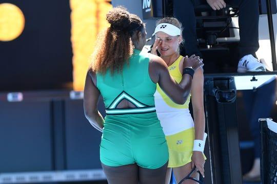 Serena William talks to Dayana Yastremska after their match.