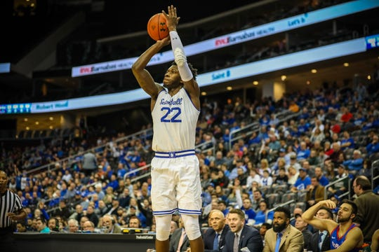 Seton Hall's Myles Cale shoots against DePaul