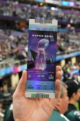 Detailed view of a Super Bowl LII ticket before Super Bowl LII between the Philadelphia Eagles and the New England Patriots at U.S. Bank Stadium.