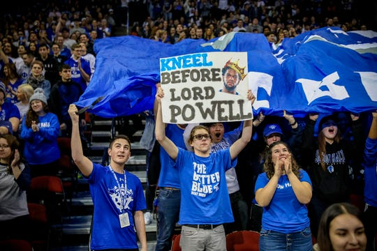 Seton Hall fans hold up a sign for Myles Powell
