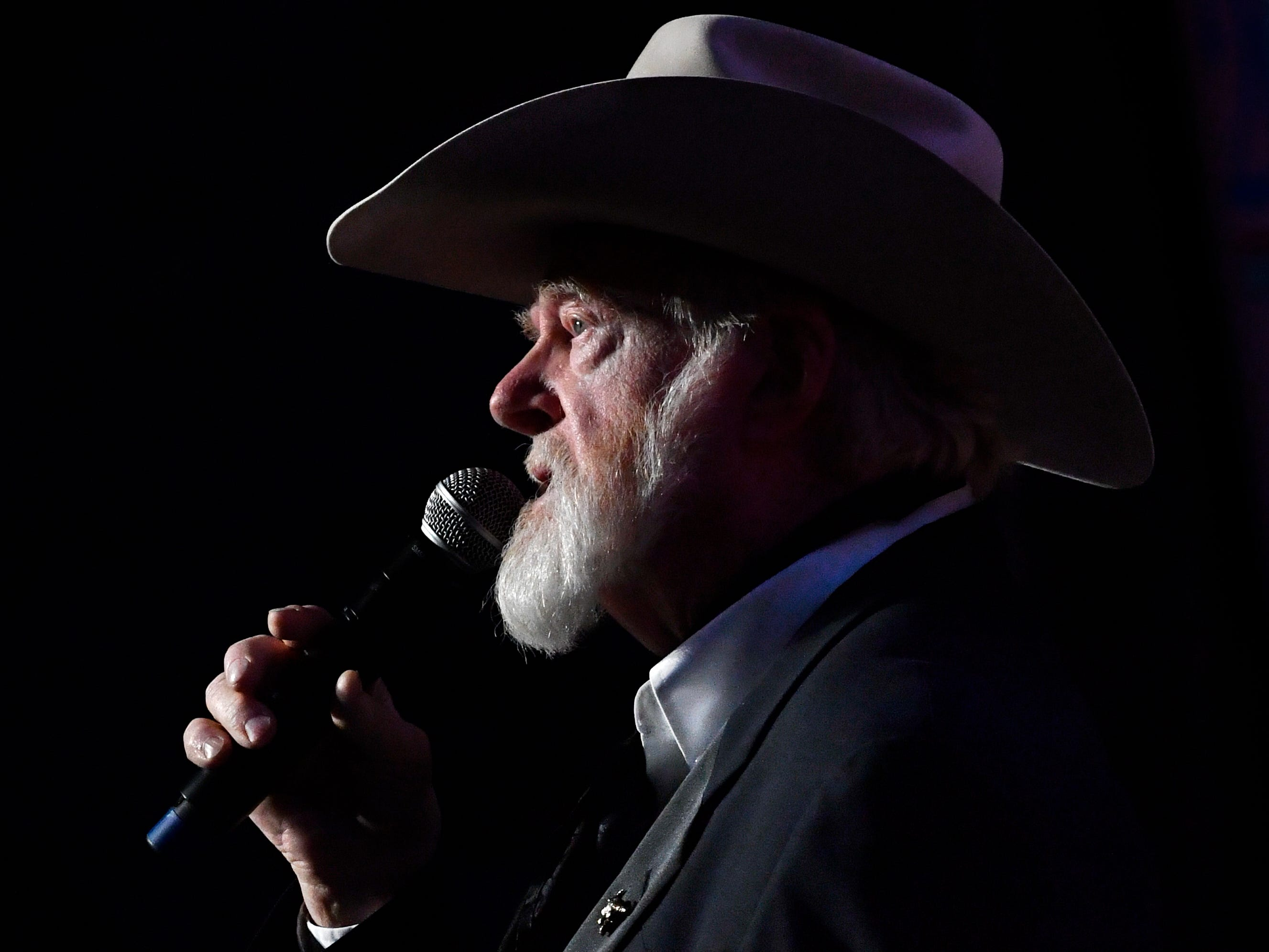 Red Steagall performs a monologue during Saturday night's West Texas Rehabilitation 2019 Telethon & Auction Jan. 20, 2019. This was the 49th year for the benefit.