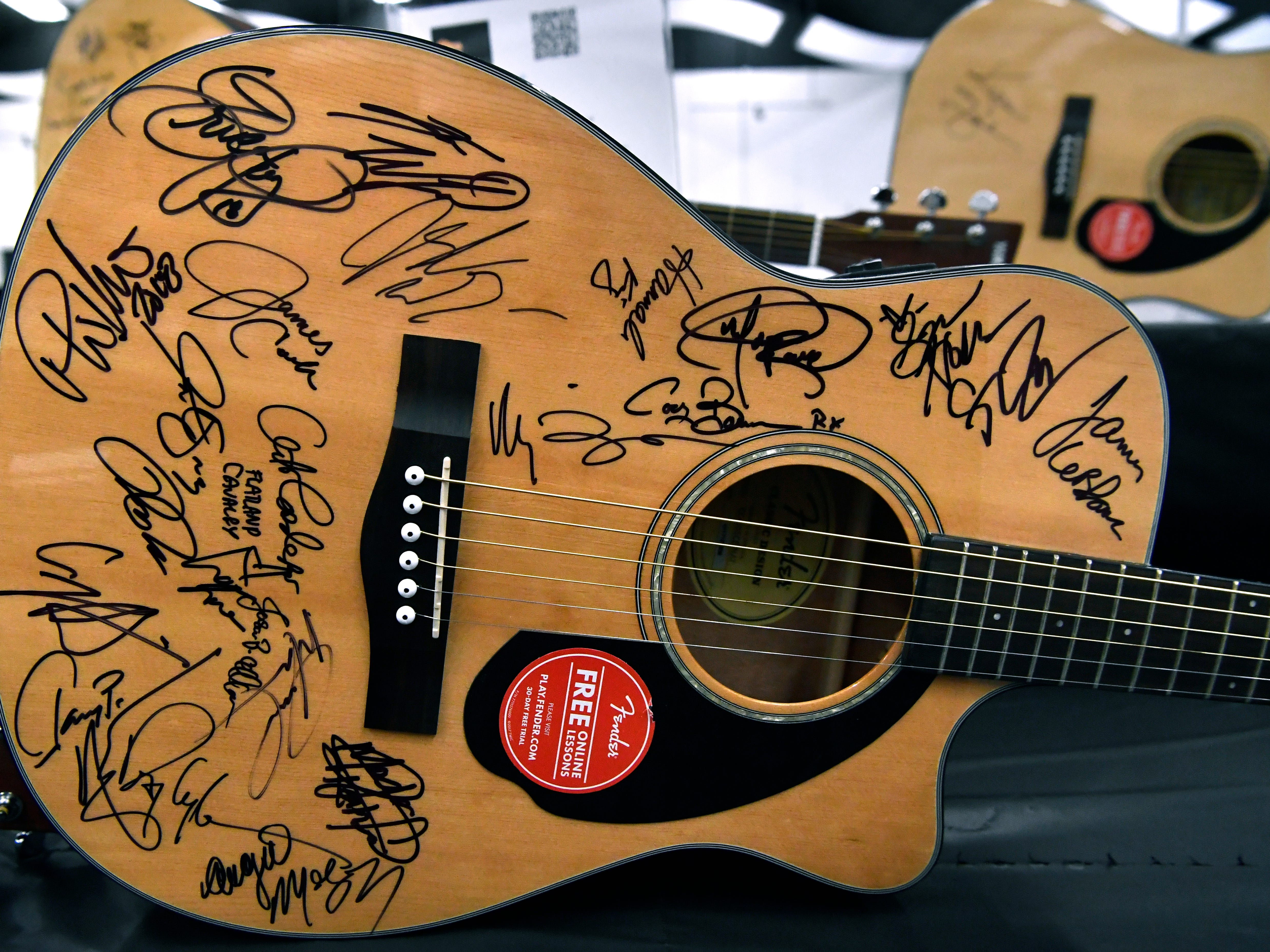A guitar autographed by the 2018 Outlaws & Legends performers was one of the items up for auction during Saturday's West Texas Rehabilitation 2019 Telethon & Auction Jan. 20, 2019. This was the 49th year for the benefit.