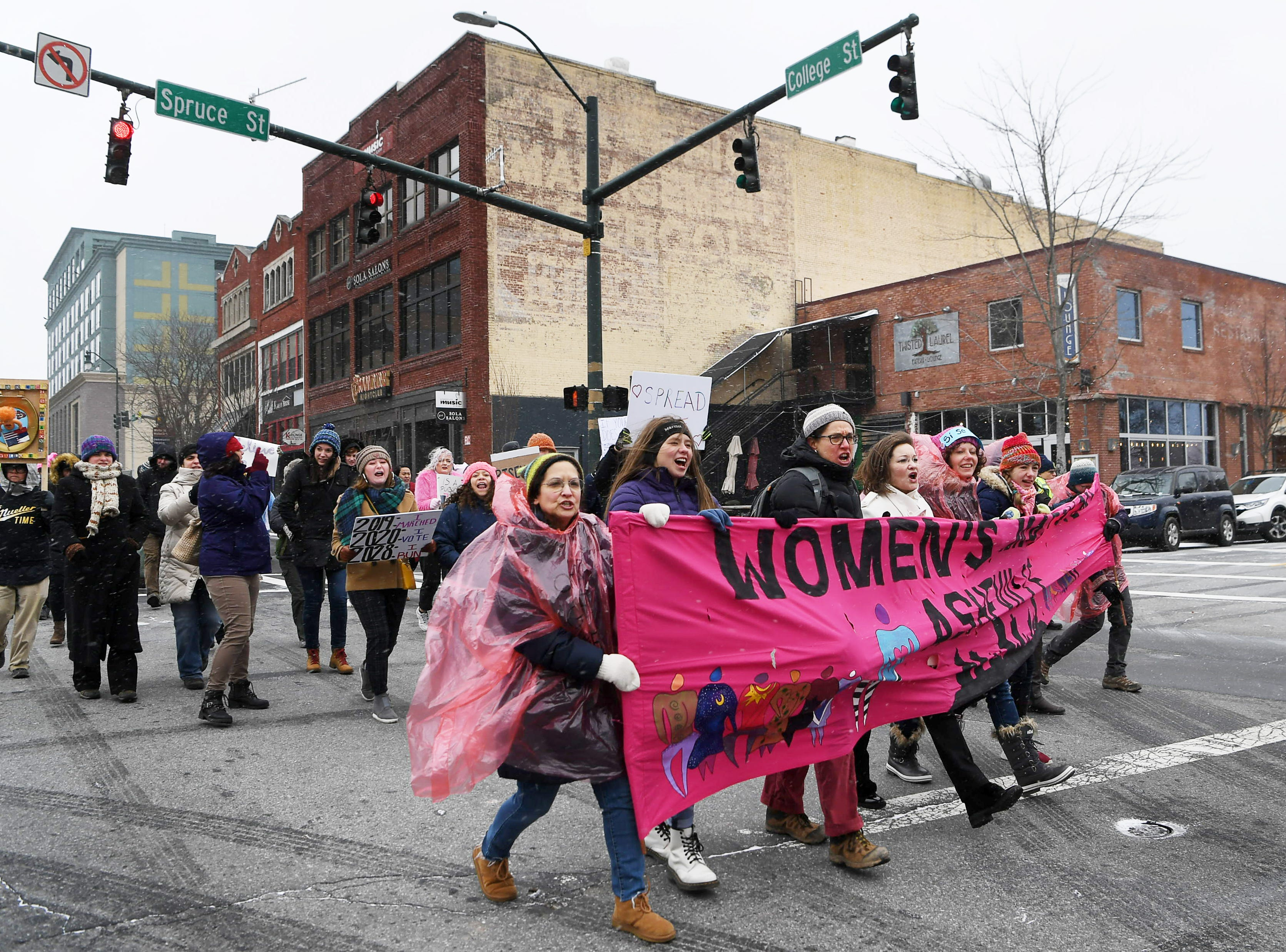 Thousands marched as snow fell during Asheville's third Women's March Jan. 20, 2019.