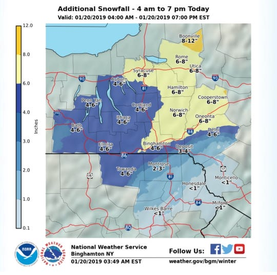 Additional snowfall expected across Southern Tier Sunday.