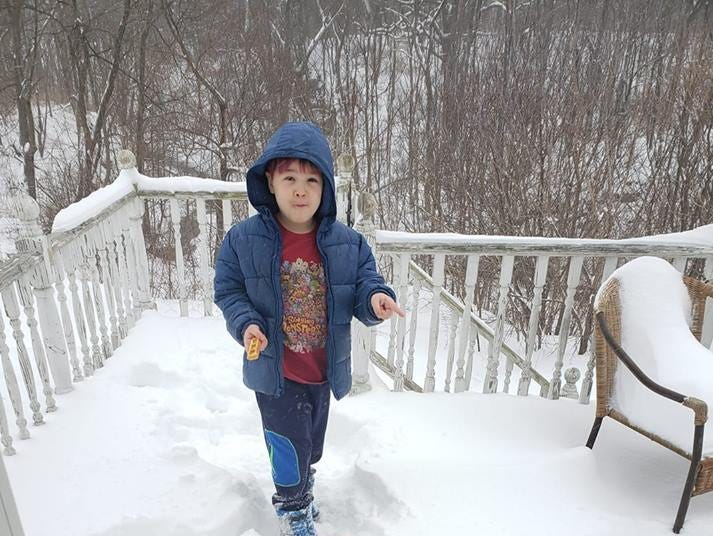 Enjoying the snow as a winter storm hits the Southern Tier.