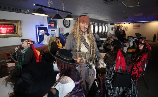 Mike Vassar of St. Helen's, Oregon, plays Jack Sparrow at the A Pirate's Life For Us festival at the High Tide Tavern in Port Orchard on Saturday,  January 19, 2019.
