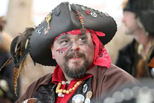 Stephen Milne of Vancouver, British Columbia, Canada, wears his pirate outfit at the A Pirate's Life For Us festival in downtown Port Orchard on Saturday,  January 19, 2019.