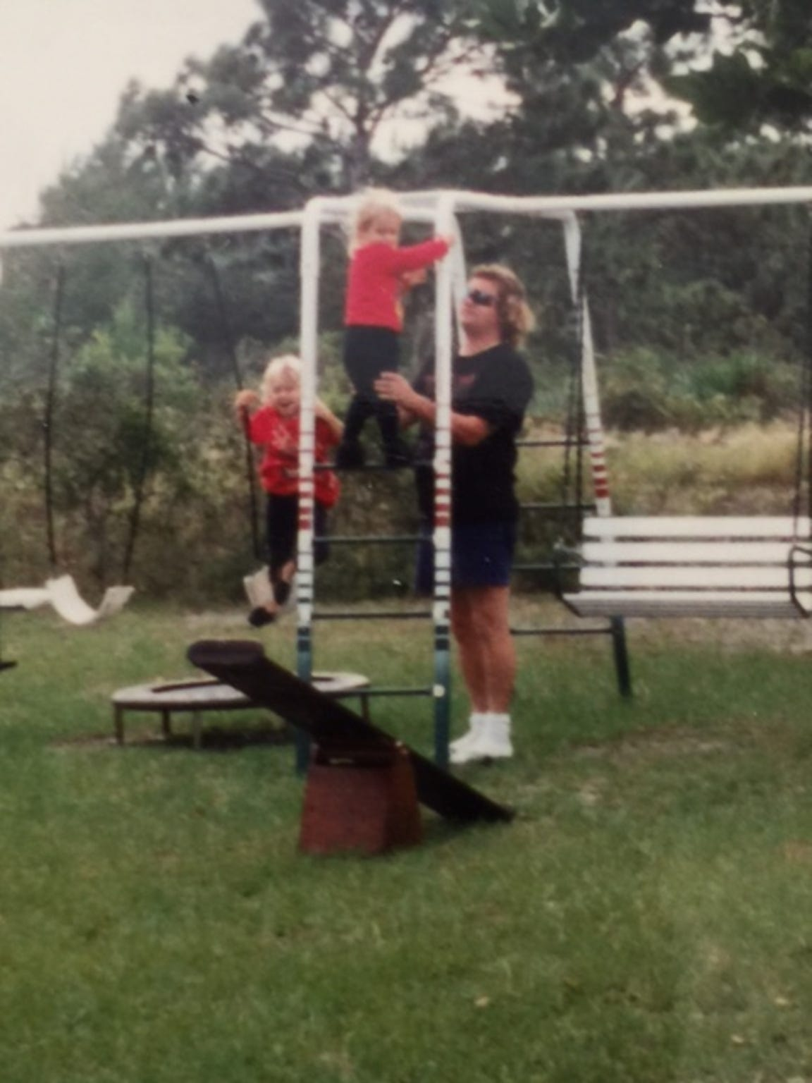 Jeff Abramowski plays with his children