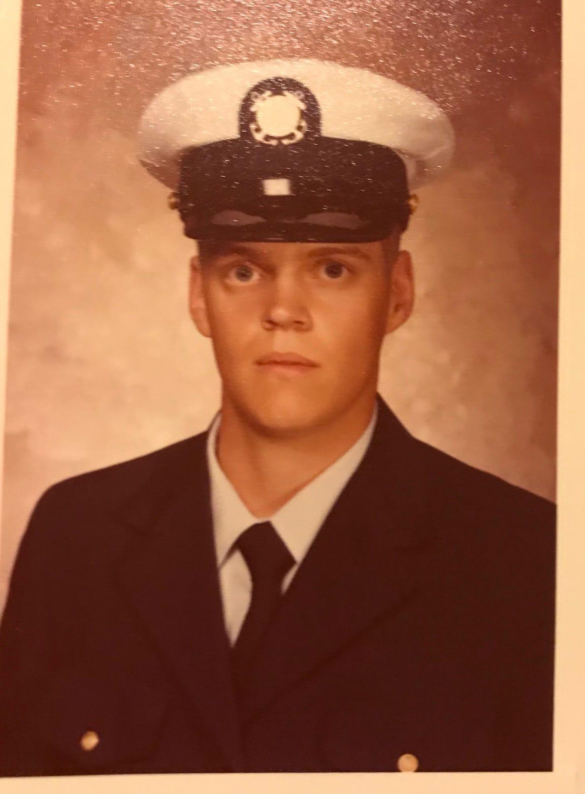 Jeff Abrawmowski in his Coast Guard uniform