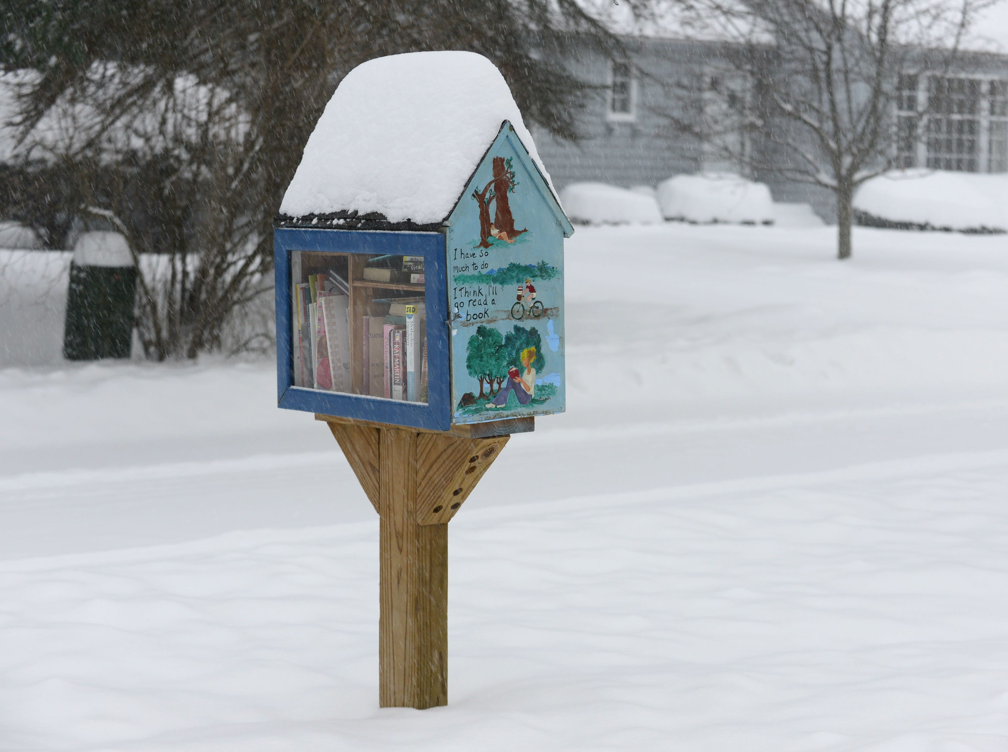 """Snow tops the peaked roof of a """"little free library"""" Sunday morning on Brewer Parkway in South Burlington on Jan. 20, 2019. The winter storm, dubbed Harper by the Weather Channel, swept into Vermont Saturday night and was expected drop as much as 24 inches of snow by Sunday evening."""