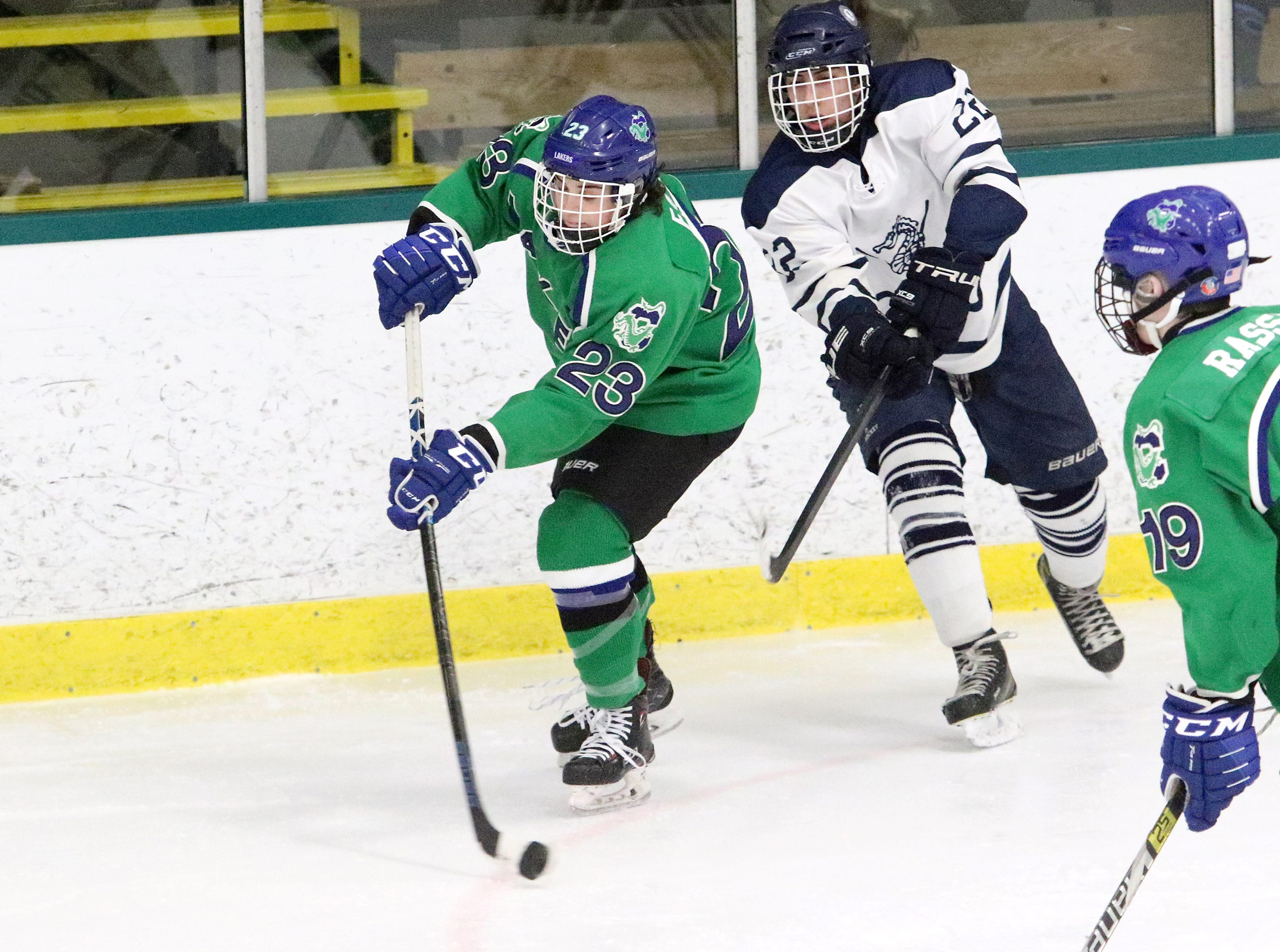 Laker defender Brendan Fath fires the puck down the ice during Colchester's 6-0 win over Burlington on Saturday. Fath netted one of the 6 Laker goals.