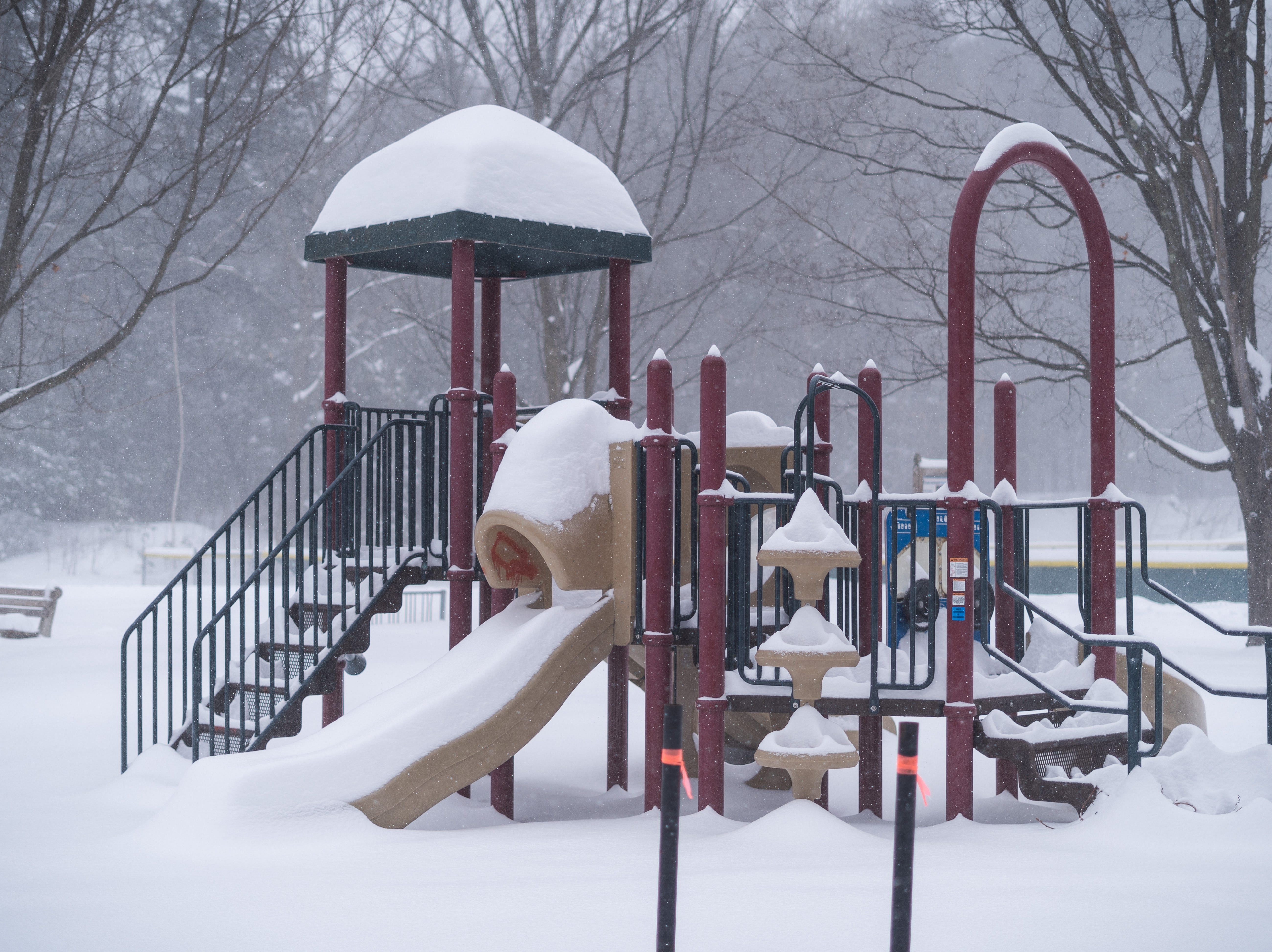The playground at Farrell Park in South Burlington, pictured during the snowstorm Sunday afternoon, Jan. 20, 2019.