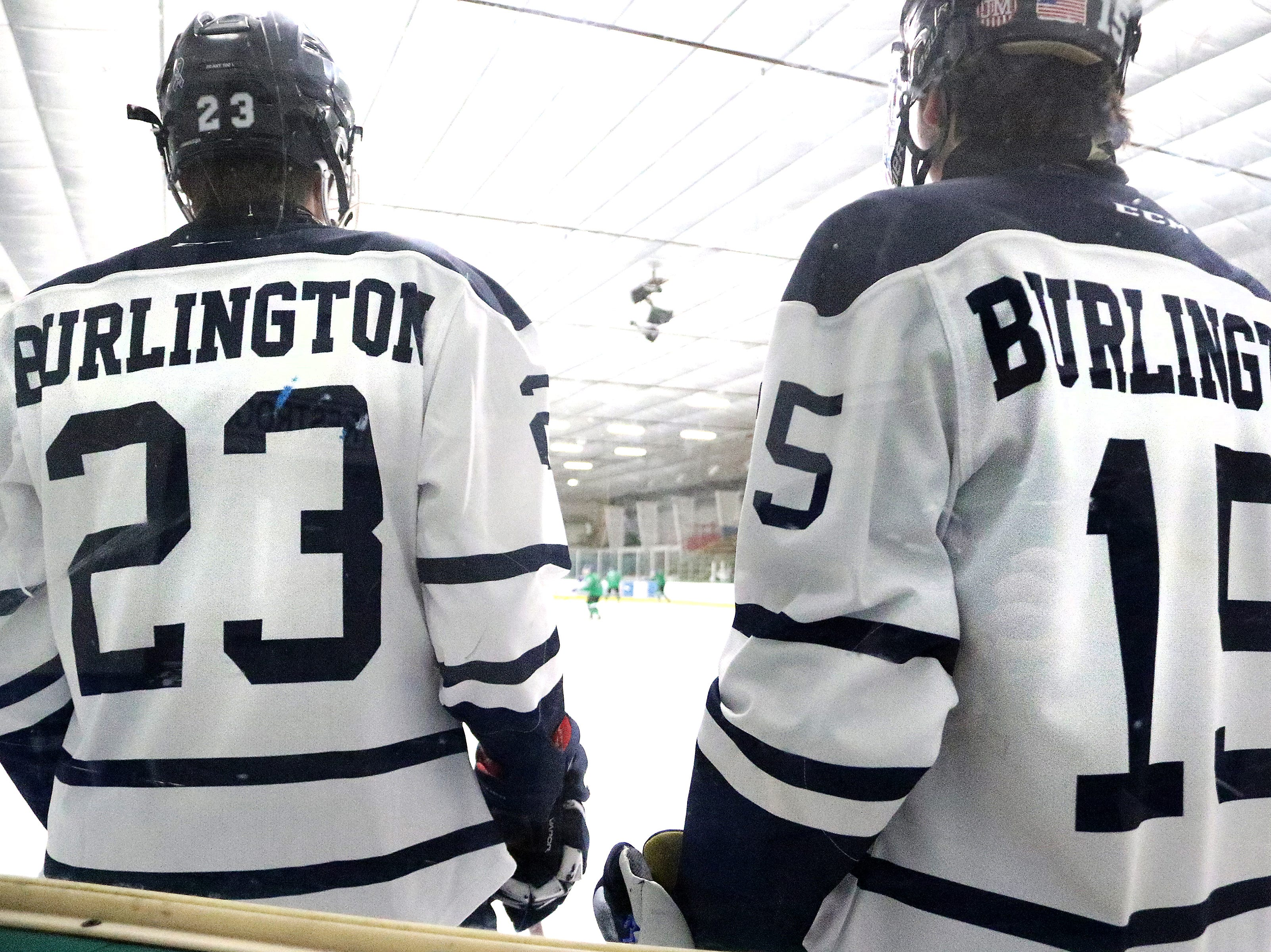 "Seahorse teammates Sully Weston and Duncan MacDonald wait their turn in warmups before the 2nd annual ""BAHA Cup"" game vs Colchester at Leddy Arena. The Seahorses new 2019 uniforms feature ""Burlington"" on the back instead of individual names."