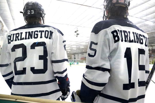"""Seahorse teammates Sully Weston and Duncan MacDonald wait their turn in warmups before the 2nd annual """"BAHA Cup"""" game vs Colchester at Leddy Arena. The Seahorses new 2019 uniforms feature """"Burlington"""" on the back instead of individual names."""