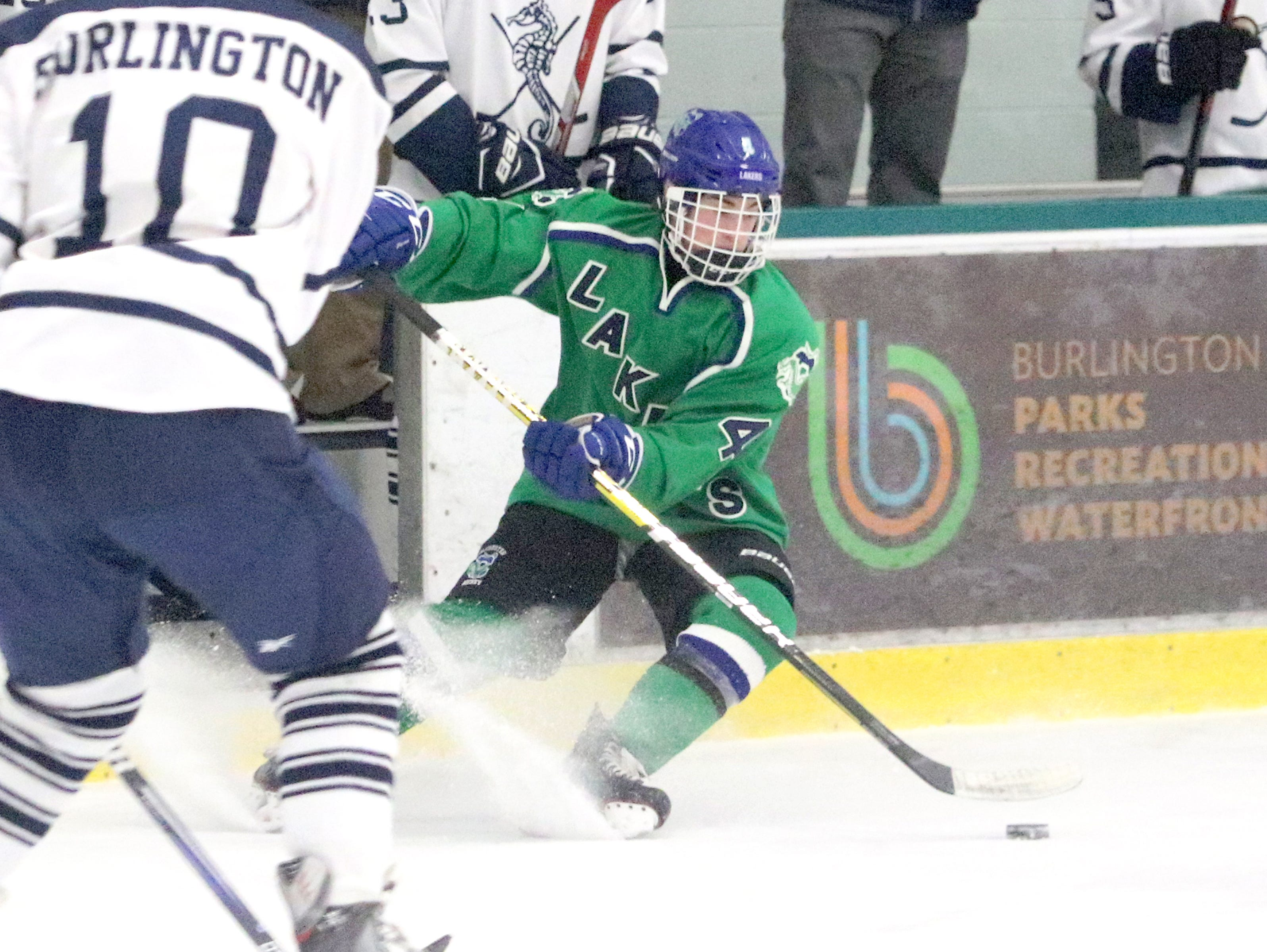 """Laker freshman Alex Rublee puts on the breaks during Colchester's 6-0 shutout of Burlington on Saturday. Rublee had an assist in the 2nd annual """"BAHA Cup"""" game."""
