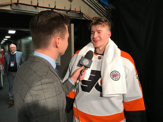 After beating the Montreal Canadiens 5-2 Sunday night, Carter Hart received his first Hockey Night in Canada towel.